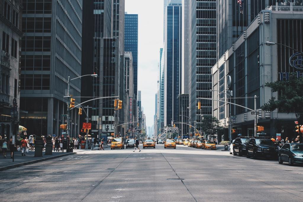 Populated street in New York City.